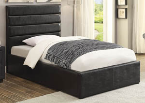 Riverbend Black Upholstered Storage Full Bed