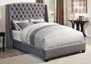 Upholstered Grey WingBack Full Bed