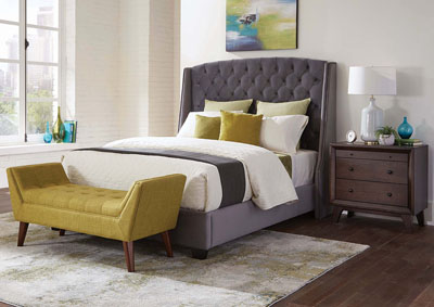 Upholstered Grey WingBack Queen Bed