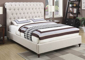 Beige Queen Upholstered Storage Bed
