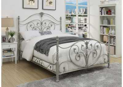 Evita Silver Metal King Poster Bed