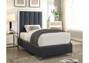 Dark Gray Upholstered & Stainless Steel Twin Platform Bed