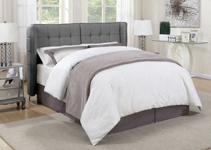 Grey Upholstered Full Platform Bed