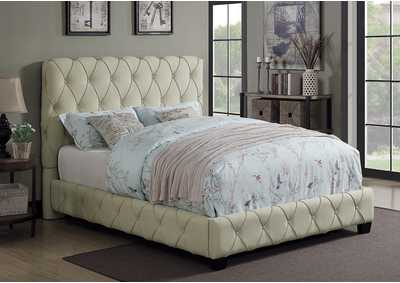 Elsinore Beige Upholstered Full Platform Bed