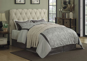 Beige Upholstered Full Platform Bed