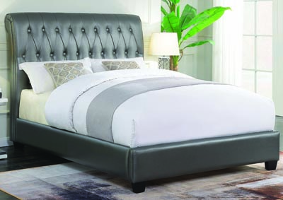 Metallic Charcoal Upholstered Twin Bed
