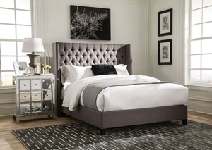 Grey California King Upholstered Bed