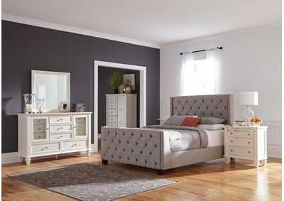 Palma Grey & White Upholstered Full 4 Piece Bedroom Set,Coaster Furniture