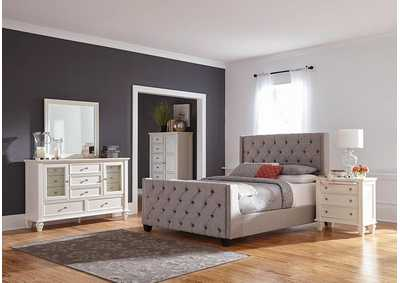 Palma Grey & White Upholstered Eastern King 5 Piece Bedroom Set