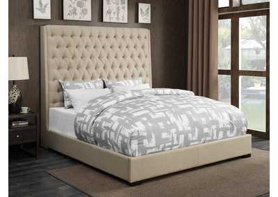 Camille Cream Upholstered Queen Platform Bed