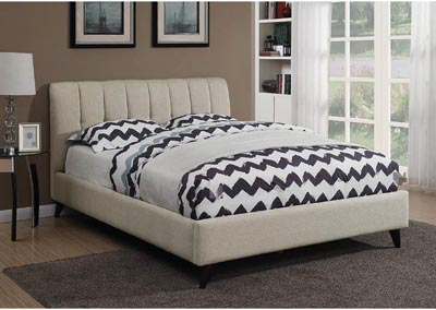 Light Brown Twin Upholstered Bed