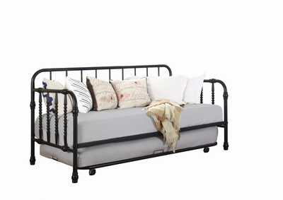 Image for French Gray Traditional Black Metal Daybed