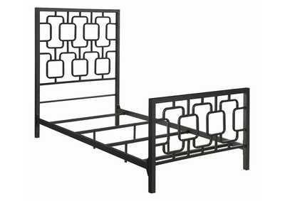 Annabella Black Metal Twin Panel Bed