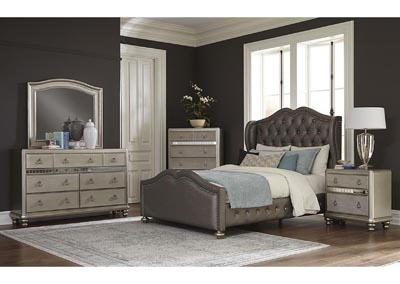 Belmont Metallic Platinum Upholstered Eastern King 5 Piece Bedroom Set