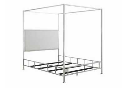 Chrome/Ivory Canopy Eastern King Bed