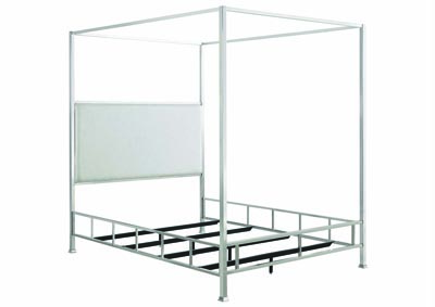 Chrome/Ivory Canopy Full Bed