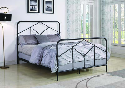 Riley Weathered Black Metal Queen Panel Bed