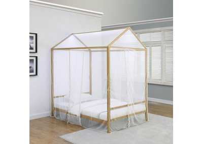 Altadena Gold Full Canopy Bed W/ LED
