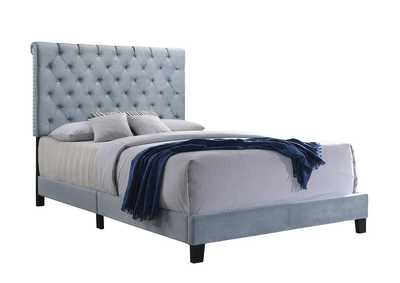 Warner Slate Blue Upholstered Queen Bed