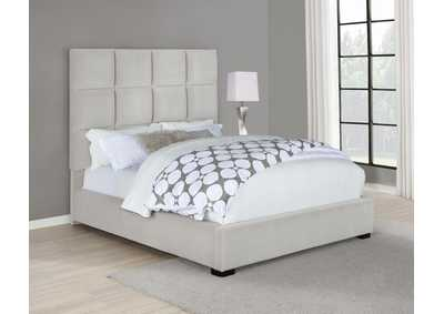Beige Upholstered Queen Bed