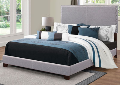 Boyd Grey Upholstered Twin Bed