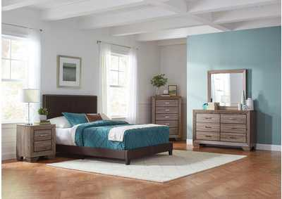 Boyd Brown & Washed Taupe Upholstered Full 5 Piece Bedroom Set