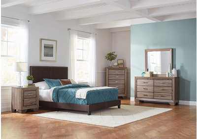 Boyd Brown & Washed Taupe Upholstered California King 5 Piece Bedroom Set