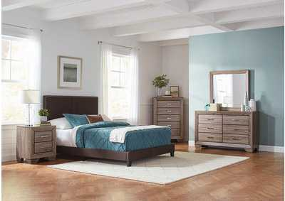 Brown Upholstered Queen Bed