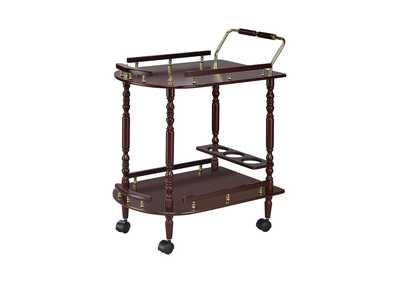 Woody Brown Recreation Room Traditional Merlot Serving Cart