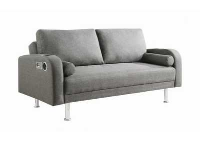 Grey Sofa Bed w/Bluetooth Speakers