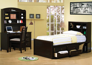 Phoenix Cappuccino Twin Bed w/Desk Hutch & Chair