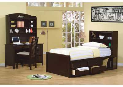 Phoenix Cappuccino Twin Bookcase Bed