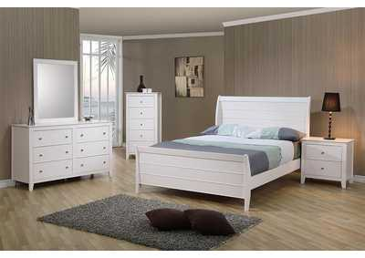 Selena White Full Sleigh Bed
