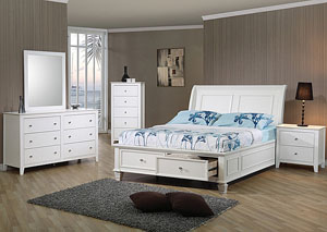 Selena White Full Storage Bed w/Dresser, Mirror & Drawer Chest