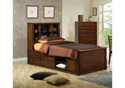Hillary Walnut Twin Bookcase Bed