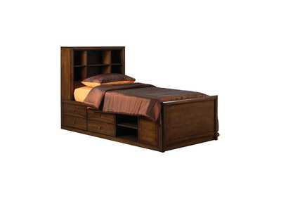 Image for Warm Brown Hillary Twin Bookcase Bed