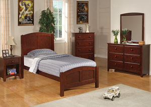 Parker Cappuccino Twin Bed, Dresser, Mirror & Chest