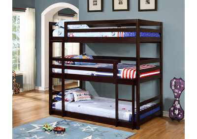 Cappuccino Triple Twin Bunk Bed