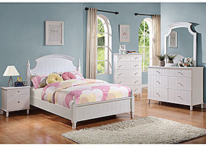 White Full Bed, Dresser, Mirror, Chest & Night Stand