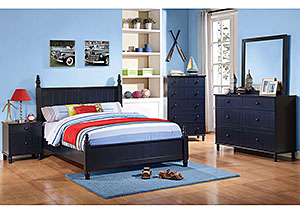 Navy Blue Full Bed, Dresser, Mirror, Chest & Night Stand