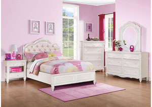 White Full Bed w/Dresser, Mirror, Chest & Nightstand