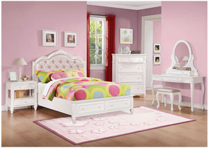 White Full Bed, Nightstand, Dresser & Mirror