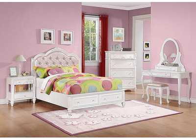 Caroline White Twin Storage Bed