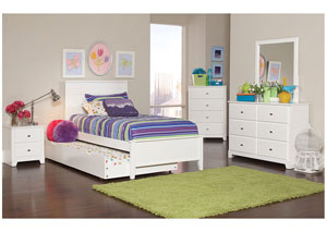White Twin Bed w/Dresser, Mirror, Chest & Nightstand