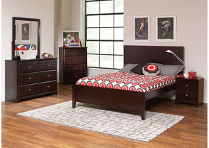 Full Bed w/Dresser, Mirror, Chest & Nightstand