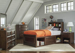 Maple Oak Twin Bed w/Dresser & Mirror