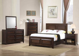 Maple Oak Full Panel Bed w/Dresser & Mirror