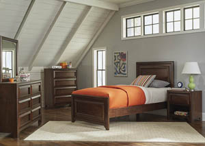 Maple Oak Twin Panel Bed w/Dresser & Mirror
