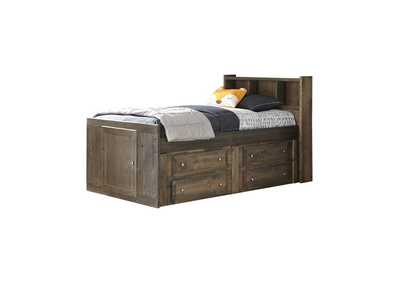 Tobacco Brown Twin Captain's Bed