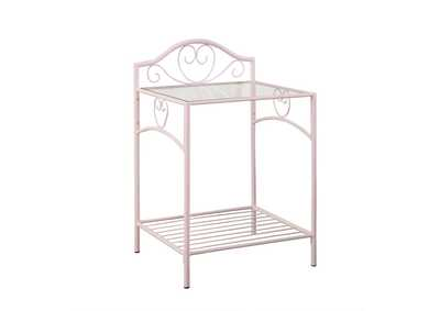 Massi Powder Pink 1-Shelf Nightstand W/ Glass Top